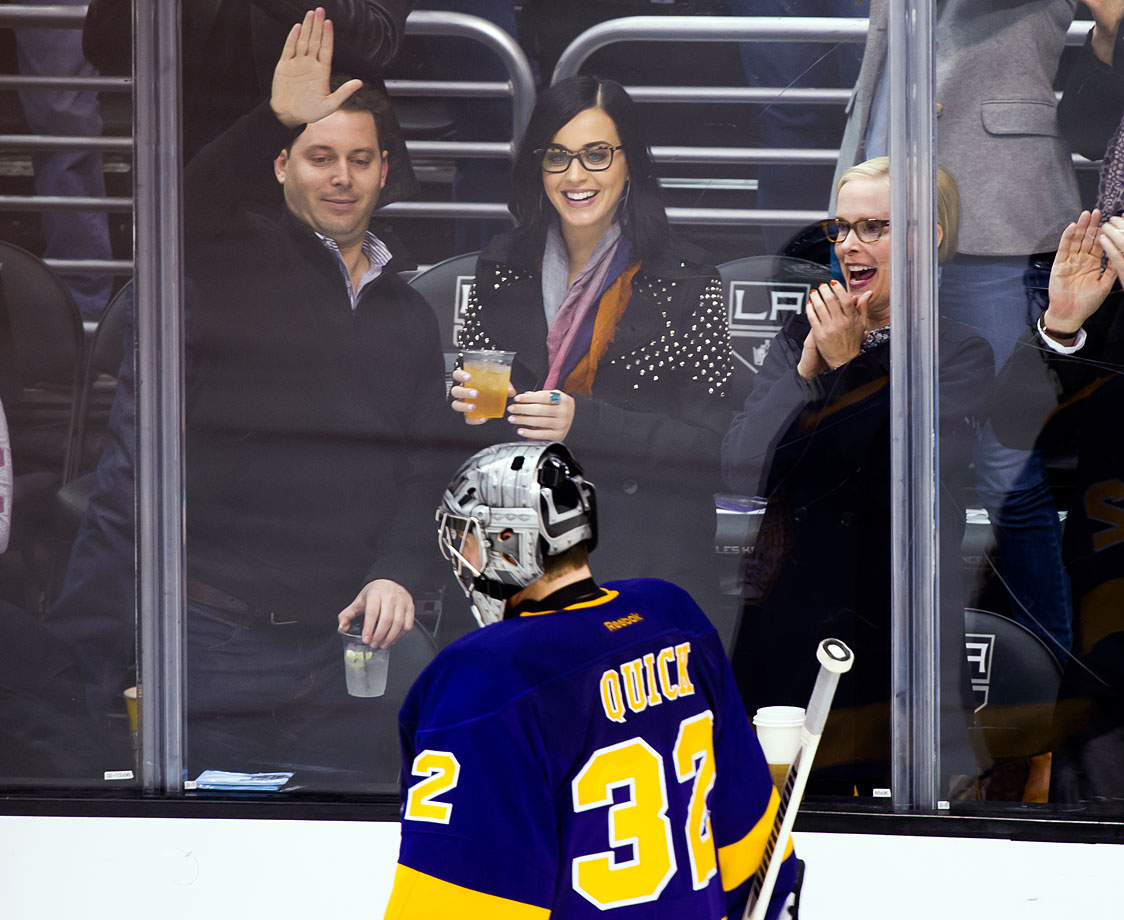 Katy Perry attends the Los Angeles Kings game against the Calgary Flames at Staples Center on March 9, 2013 in Los Angeles.