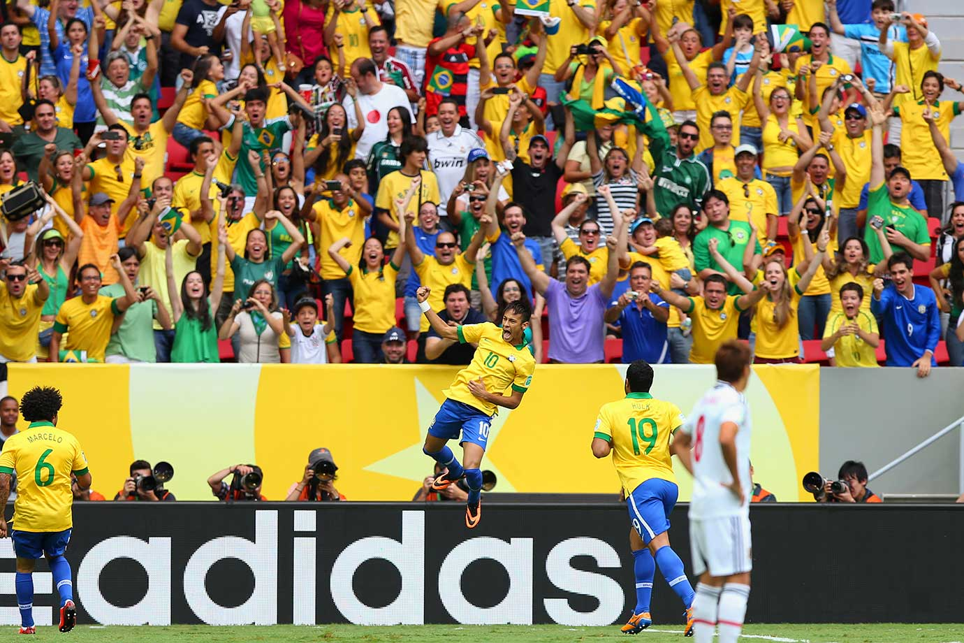 Neymar celebrates after scoring in Brazil's FIFA Confederations Cup match against Japan on June 15, 2013 at Estadio Nacional in Brazil. Brazil won 3-0.