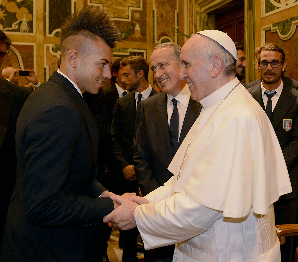 Pope Francis welcomes Stephan El Shaarawy of Italy's national team during an audience at The Vatican on August 13, 2013 in Vatican City.