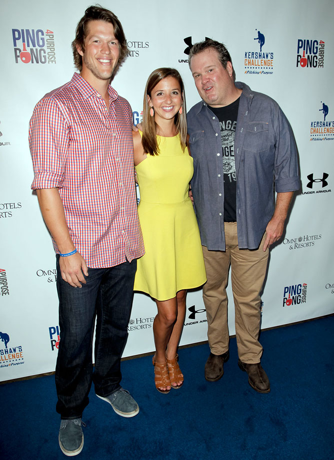 Clayton Kershaw, his wife Ellen, and Eric Stonestreet attend Clayton Kershaw's inaugural Ping Pong 4 Purpose purpose charity event benefiting 'Kershaw's Challenge' at Dodger Stadium on August 29, 2013 in Los Angeles.
