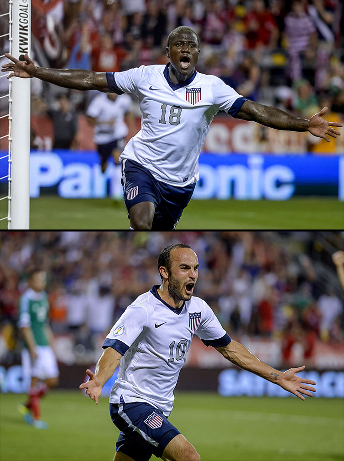 Eddie Johnson and Landon Donovan scored second-half goals to beat El Tri by the same score for the fourth consecutive qualifier in Columbus, Ohio.