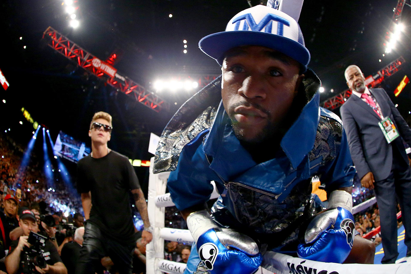 Floyd Mayweather Jr. enters the ring alongside Justin Bieber for his WBC/WBA 154-pound title fight against Saul 'El Canelo' Alvarez on Sept. 14, 2013 at the MGM Grand Garden Arena in Las Vegas.