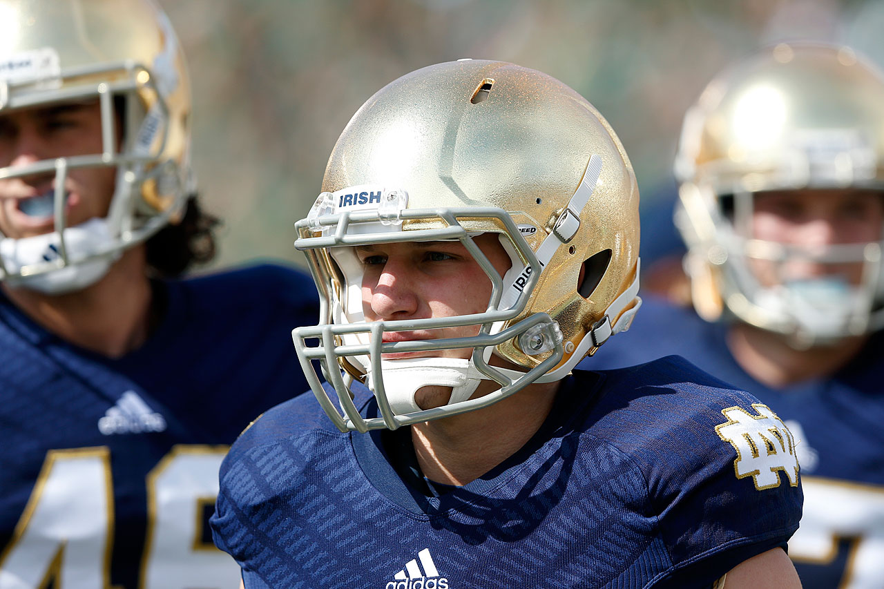 Notre Dame cornerback Jesse Bongiovi, Jon Bon Jovi's son, looks on during a game against Oklahoma in South Bend, Ind.