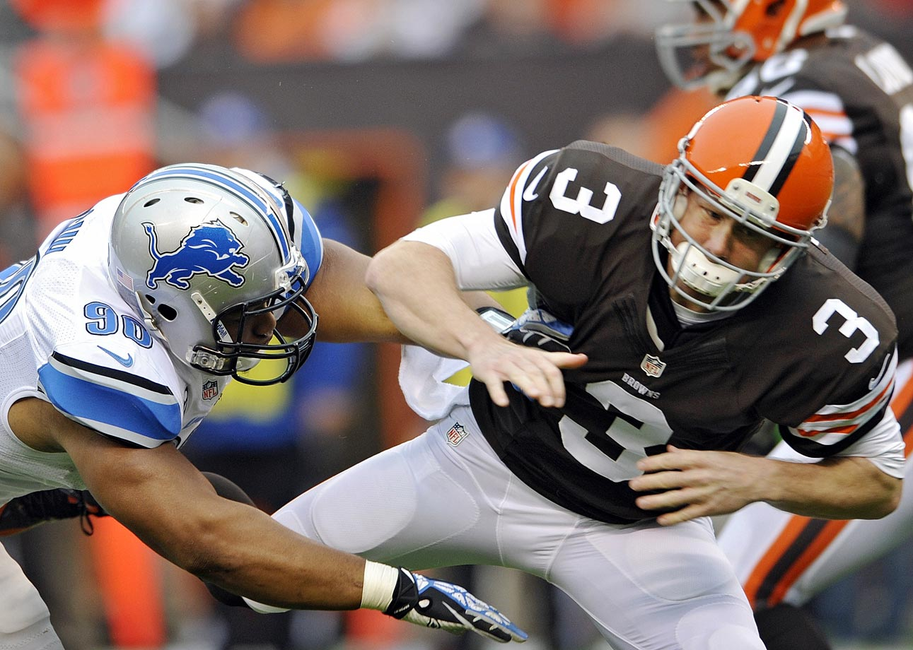 Suh was fined $31,500 for a hit on Cleveland quarterback Brandon Weeden in Week 6 of the 2013 season. Suh's hit did not draw a penalty during the game, and it appeared that he actually let up a bit on Weeden. Suh and Weeden also had another run-in during the Lions' win. On a Weeden scramble in the third quarter, Suh grabbed him and tossed him to the ground with authority. There was no penalty called there either (and probably not one warranted). Regardless of which play was in question, there's little question that Suh's reputation came into play here.