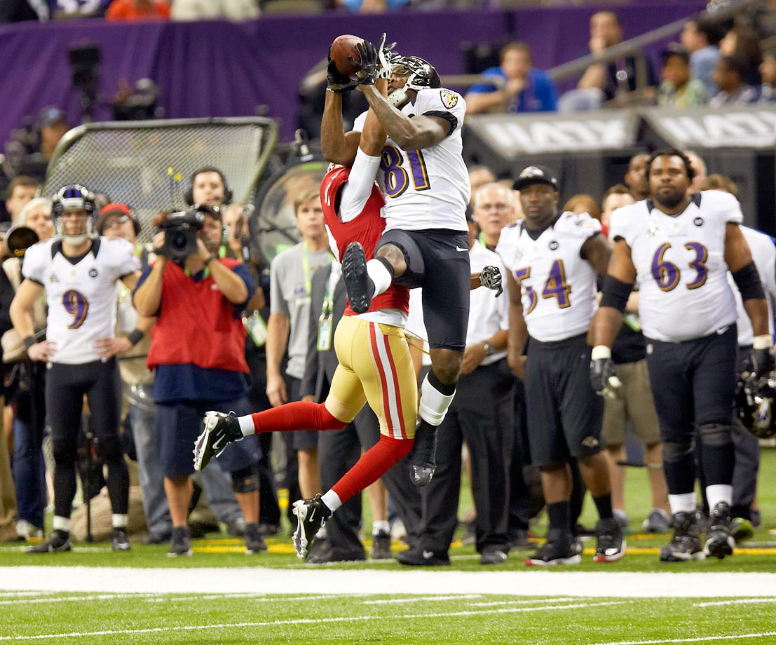 Anquan Boldin made six catches for 106 yards and a touchdown as the Ravens won the second Super Bowl title in franchise history.