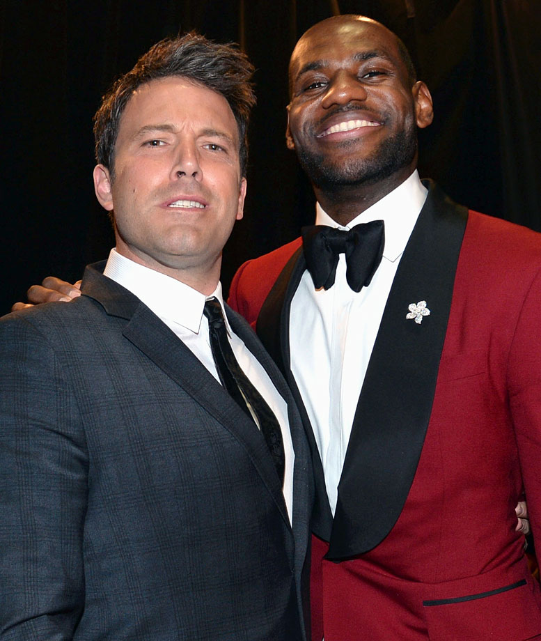 Ben Affleck poses with LeBron James backstage at the ESPY Awards on July 17, 2013 at Nokia Theatre L.A. Live in Los Angeles.