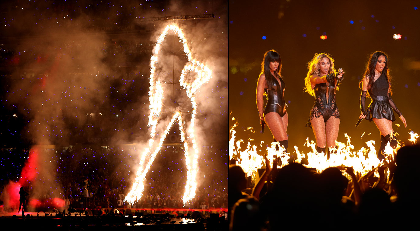 """Mrs. Carter took the stage to perform a medley of current and past hits such as """"Love on Top,"""" """"Single Ladies,"""" and """"Halo."""" Joining Beyoncé in her more than 12-minute set were former Destiny's Child groupmates Kelly Rowland and Michelle Williams. The performance drew more than 110 million viewers, making Beyoncé's extravaganza the second-most watched Super Bowl halftime show in history (at the time)."""