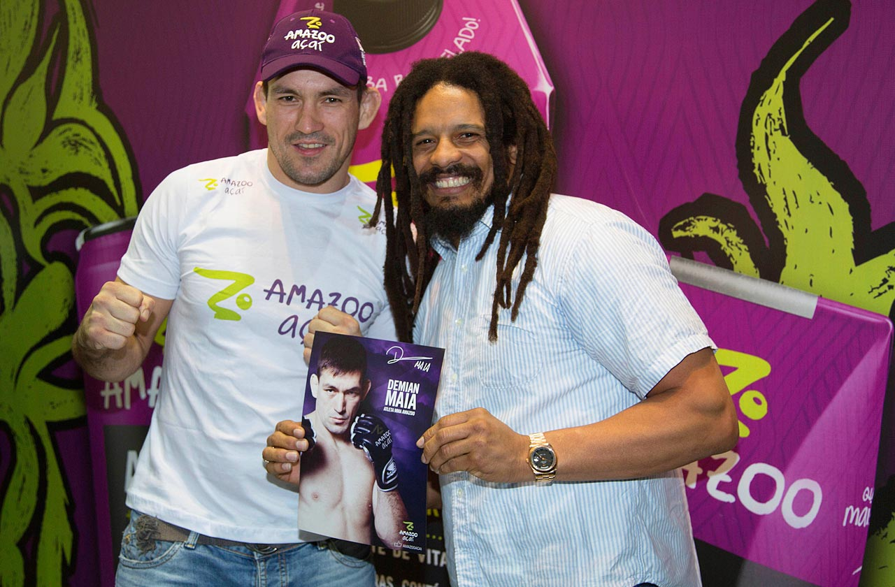 Rohan Marley and UFC fighter Demian Maia pose together at the Apas GlobalBev 2013 at Expo Center Norte on May 9, 2013 in Sao Paulo, Brazil.