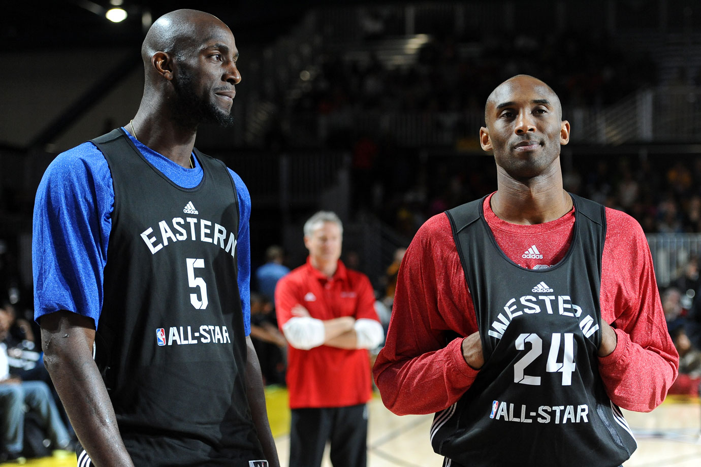 Kevin Garnett and Kobe Bryant talk during the NBA All-Star practice in Houston. Garnett made 12 consecutive All-Star appearances from 2000 to 2011.