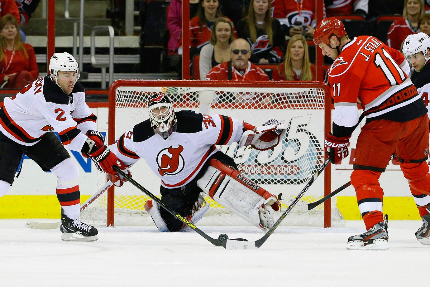 After missing a month of action due to a nerve injury in his back, Brodeur returned to the net on March 21, 2013 with some of his old stick magic, scoring a power play goal against the Carolina Hurricanes that made him the only NHL goalie to record three career tallies, and the second after Evgeni Nabokov of the Sharks to light the lamp with the man advantage.
