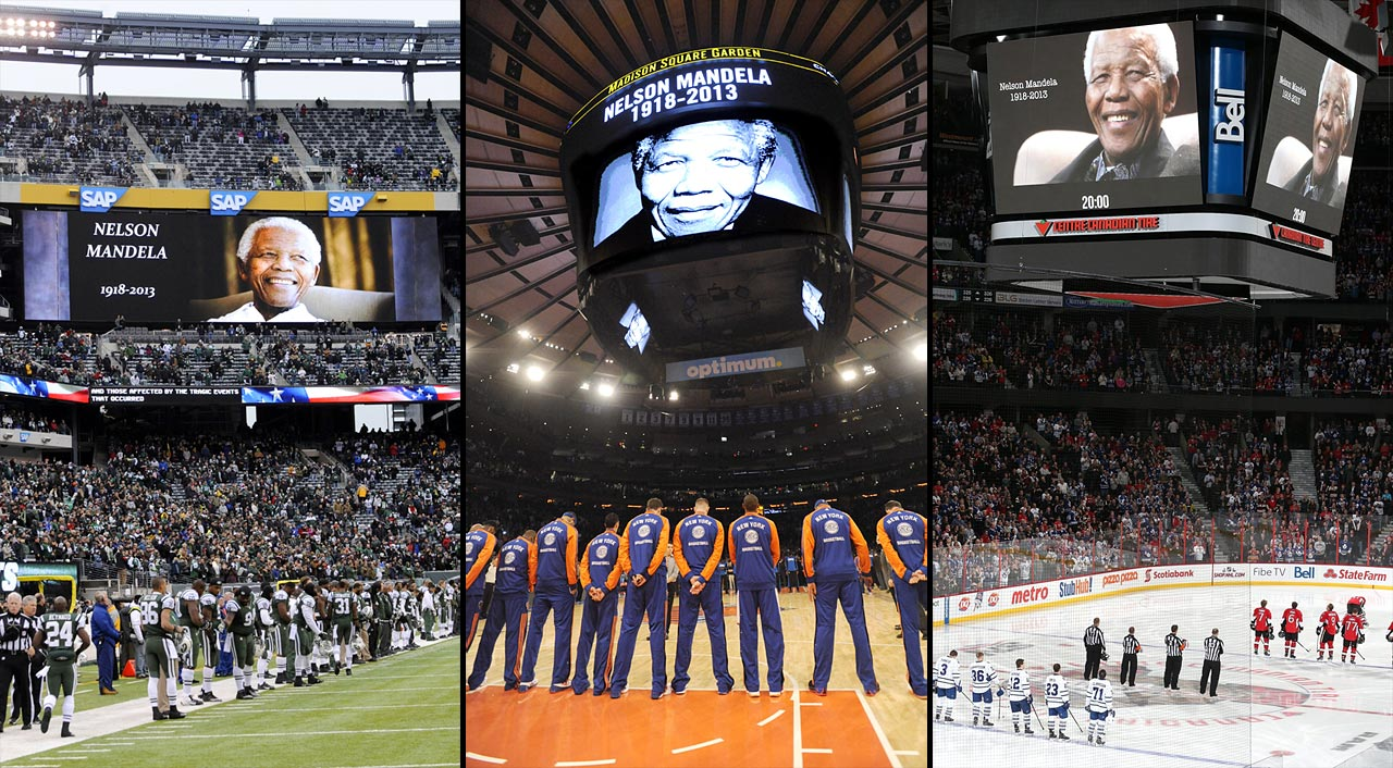 The NFL, NBA and NHL honored Mandela within days of his passing on Dec. 5, 2013 at age 95.