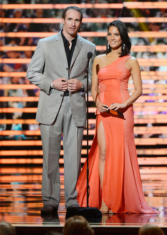Drew Brees and Olivia Munn speak onstage during the 2nd Annual NFL Honors at the Mahalia Jackson Theater in New Orleans.