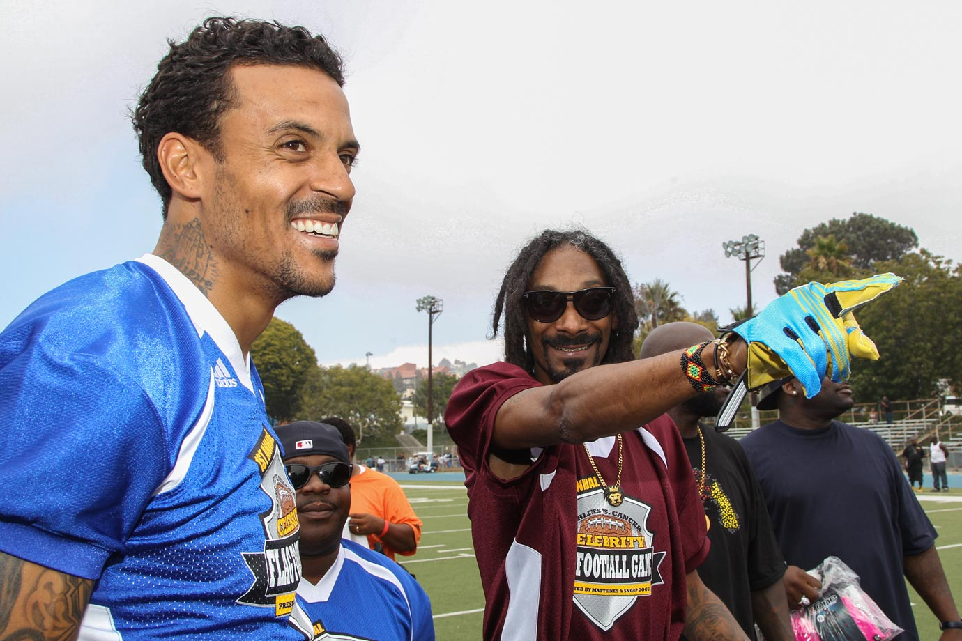 Matt Barnes and Snoop Dogg attend the 1st Annual Athletes vs. Cancer Celebrity Flag Football game on Aug. 18, 2013 at the Palisades High School in Pacific Palisades, Calif.