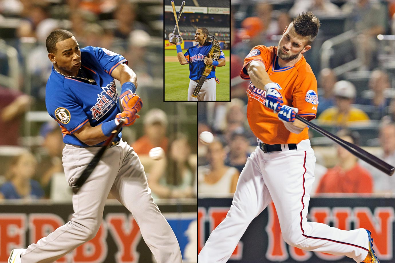 Yoenis Cespedes became the first player left out of the All-Star Game to take home the crown, needing just five outs to pass Bryce Harper in the finals with a 455 foot  shot to center field. In only his second major league season, the outfielder from Cuba hit a whopping 17 home runs in the first round—more than any other player managed in their first two trips to the plate. Cespedes would go on to win again next year.