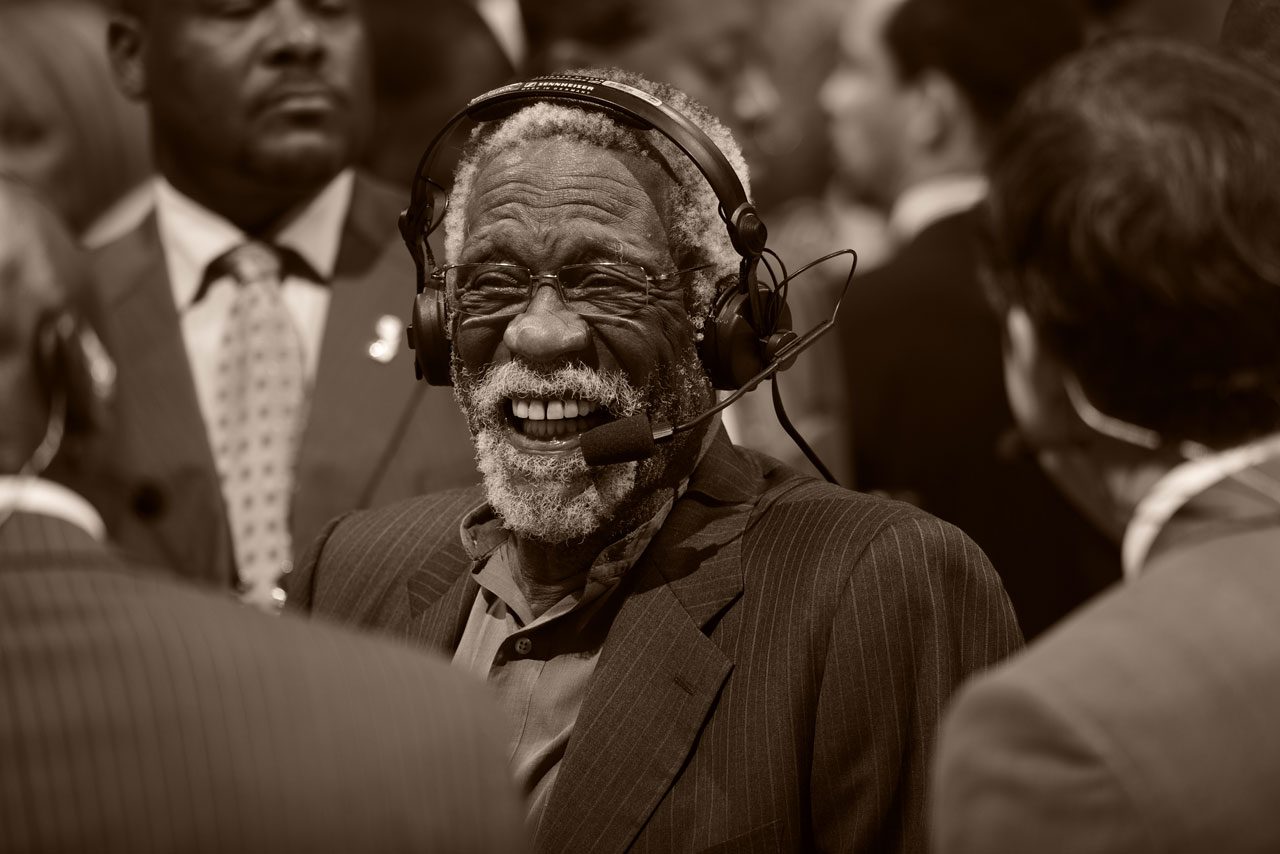 Bill Russell has a good laugh during Game 6 of the NBA Finals between the Miami Heat and San Antonio Spurs in Miami.