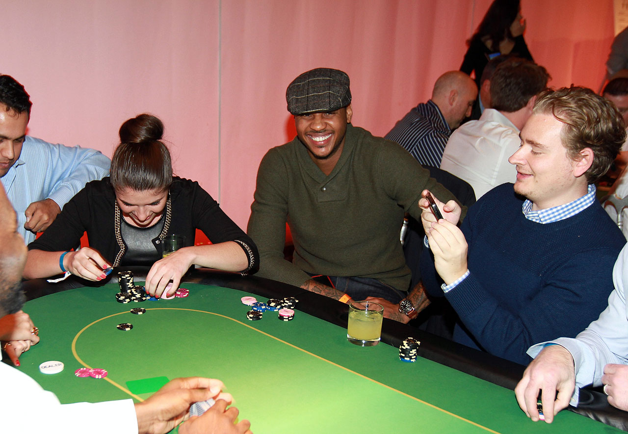 Carmelo shows quite the poker face during the 2nd Annual Alan Houston Legacy Foundation charity poker tournament at Espace in New York City.