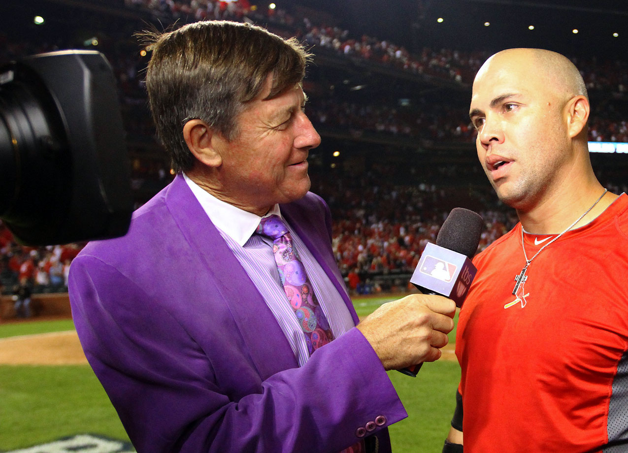 Craig Sager interviews Carlos Beltran following the St. Louis Cardinals win over the Los Angeles Dodgers in Game One of the National League Championship Series on Oct. 11, 2013 at Busch Stadium in St Louis.