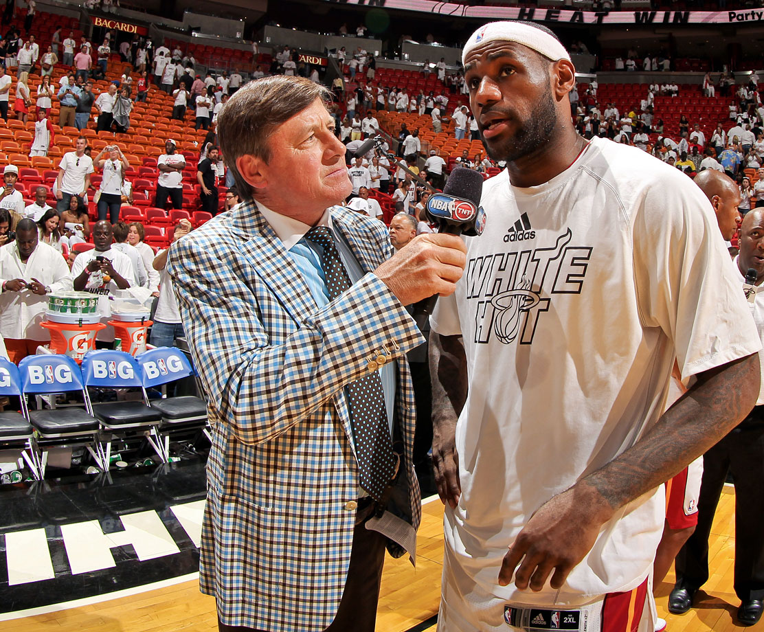 Craig Sager interviews LeBron James following the Miami Heat's win over the Chicago Bulls in Game Two of the Eastern Conference Semifinals on May 8, 2013 at AmericanAirlines Arena in Miami.