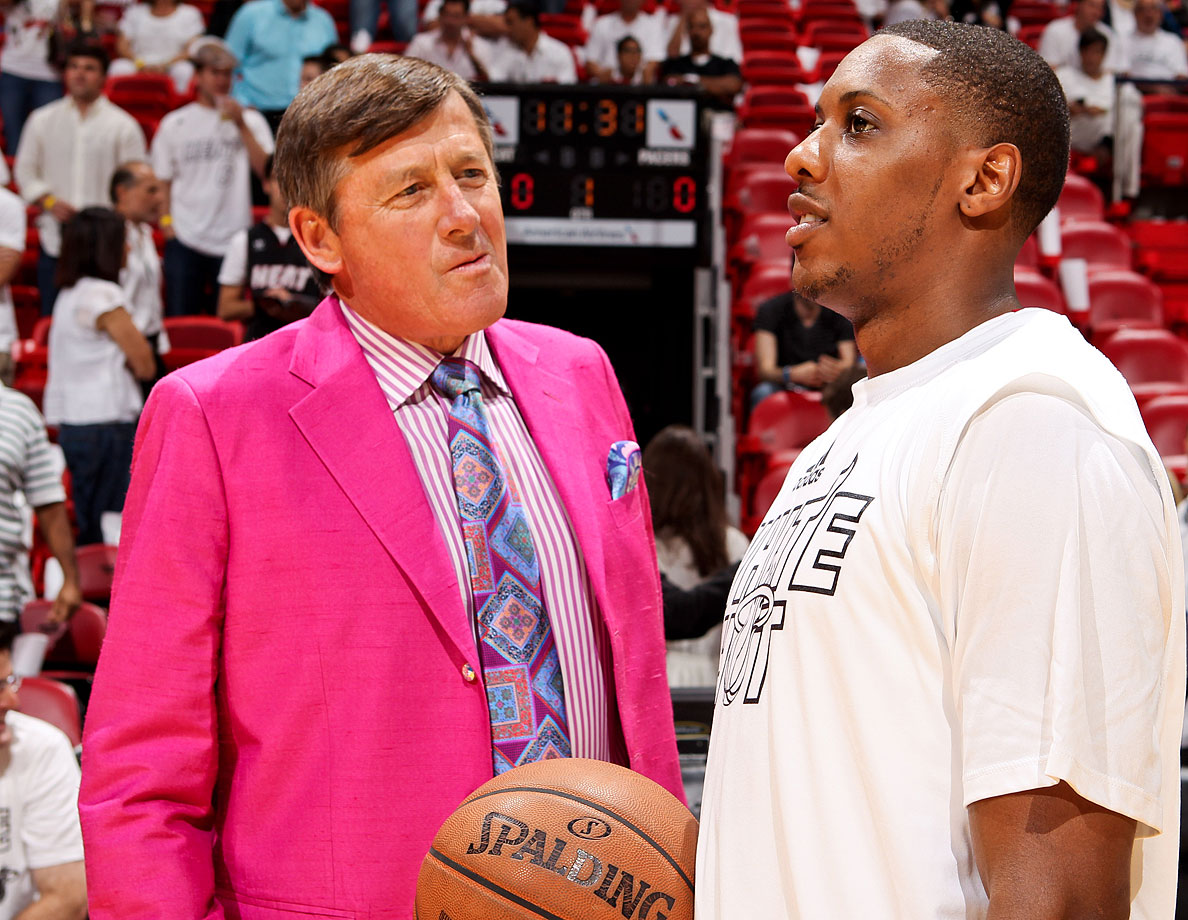 Craig Sager chats with Mario Chalmers before Game Five of the Eastern Conference Finals between the Miami Heat and Indiana Pacers on May 30, 2013 at AmericanAirlines Arena in Miami.
