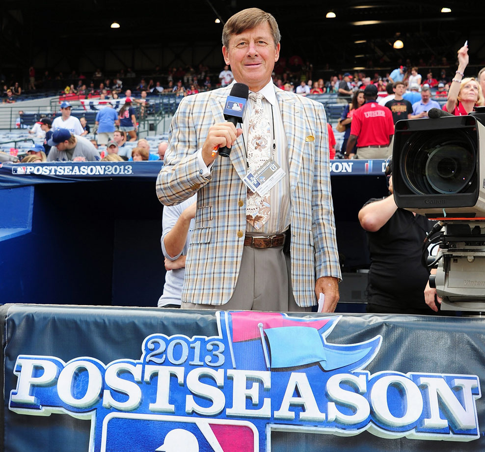 Craig Sager looks on during Game Two of the National League Division Series between the Atlanta Braves and Los Angeles Dodgers on Oct. 4, 2013 at Turner Field in Atlanta.