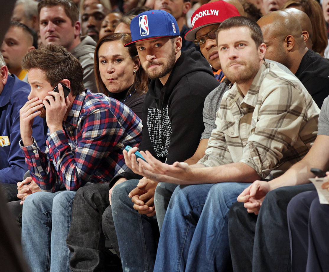 Justin Timberlake watches the Indiana Pacers game against the Miami Heat at Bankers Life Fieldhouse in Indianapolis on Dec. 10, 2013.