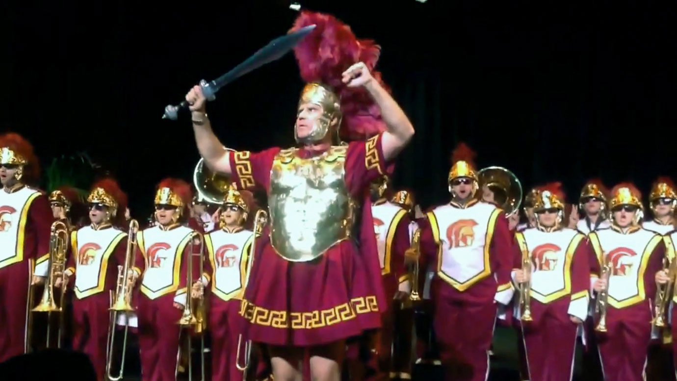 Will Ferrell leads the USC marching band, The Spirit of Troy, on Oct. 14, 2013 at the University of Southern California in Los Angeles.