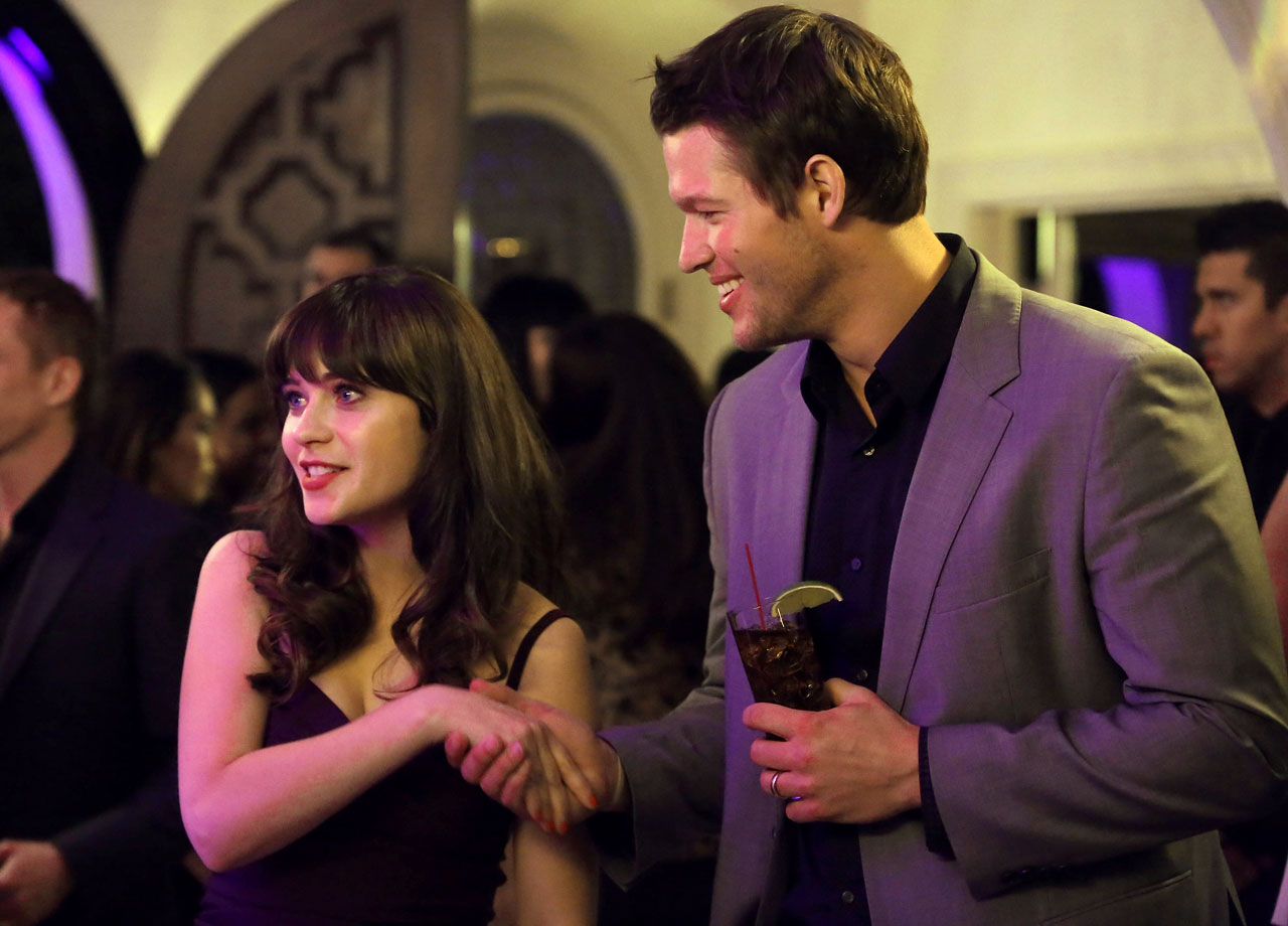 Zooey Deschanel shakes hands with Clayton Kershaw during an episode of 'New Girl,' which aired on Feb. 2, 2014 immediately following Super Bowl XLVIII on FOX.