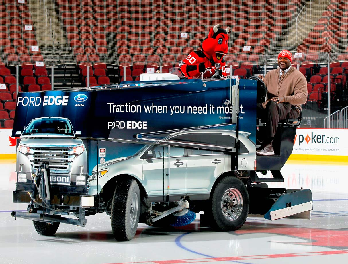 So Shaq and Satan are driving this Zamboni…