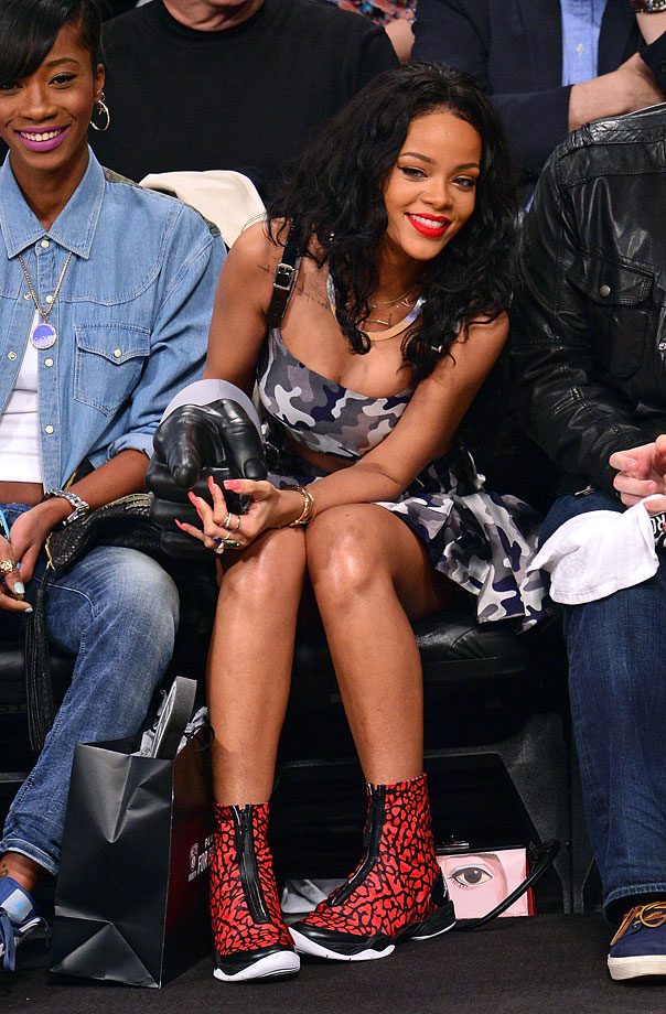 Rihanna attends Game 4 of the Eastern Conference Quarterfinals between the Brooklyn Nets and the Toronto Raptors on April 27, 2014 at the Barclays Center in the Brooklyn borough of New York City.