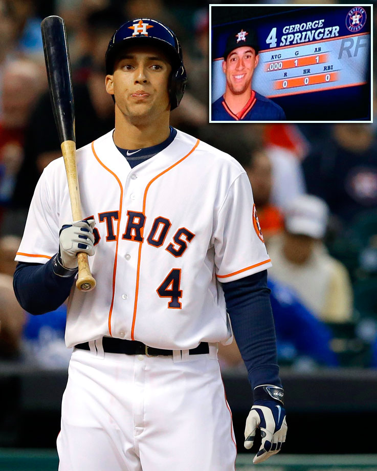 The Astros celebrated the April 16 major league debut of one of their top prospects, rightfielder George Springer, by misspelling his name on the scoreboard during his first at bat.