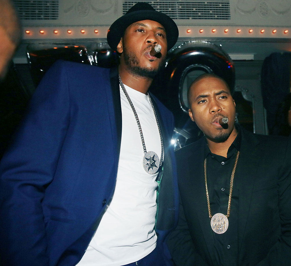 Carmelo Anthony and Nas attend Carmelo's 30th Birthday Party at Up & Down in New York City.