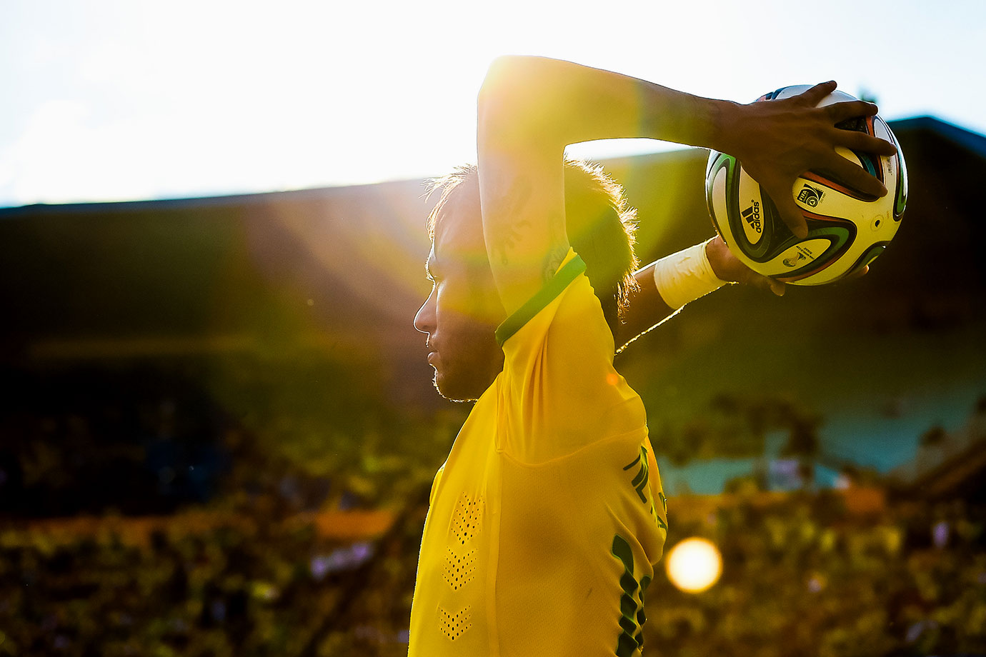 Neymar looks to throw-in the ball during Brazil's International Friendly match against Panama on June 03, 2014 at Serra Dourada Stadium in Goiania, Brazil.