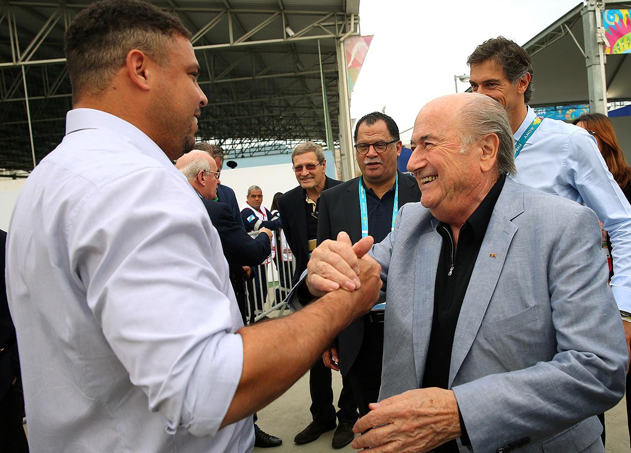 FIFA President Sepp Blatter welcomes Ronaldo at the 2014 Football for Hope Festival at Vila Olimpica Mane Garrincha Caju in Rio de Janeiro, Brazil.