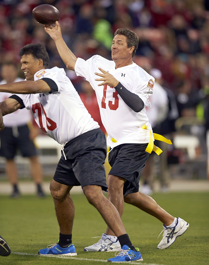 Dan Marino throws a pass during a flag football game at Candlestick Park in San Francisco on July 12, 2014.