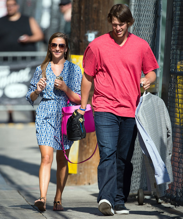 "Clayton Kershaw walks with his wife Ellen as he heads to appear on ""Jimmy Kimmel Live"" on July 28, 2014 in Hollywood, Calif."