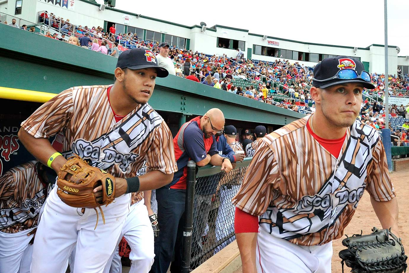 "The Portland Sea Dogs head to the field in Chewbacca-themed uniforms during their game against the Richmond Flying Squirrels as they celebrate ""Star Wars Night"" on Aug. 16, 2014 at Hadlock Field in Portland, Maine."