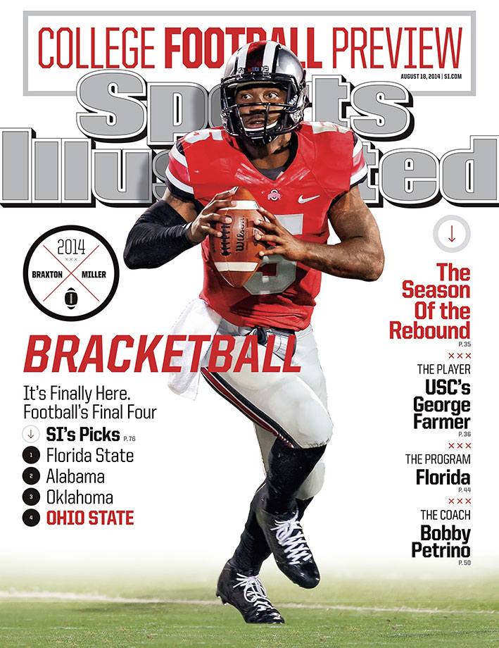 Ohio State Buckeyes quarterback Braxton Miller was featured on one of the five regional college football preview covers. Days later, he re-injured his surgically repaired right shoulder, resulting in him missing the entire 2014 season.