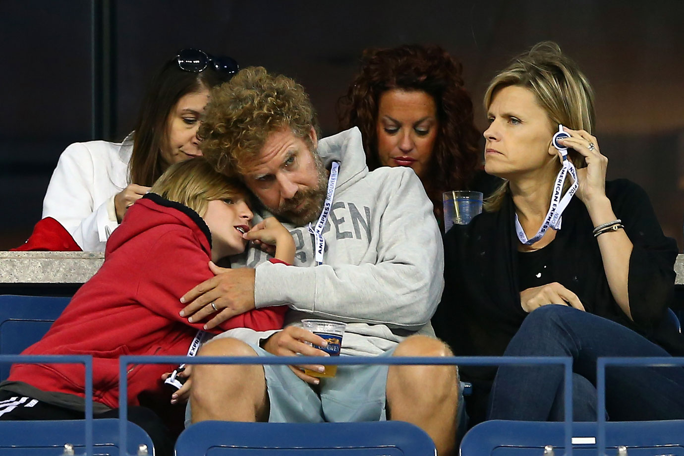 Will Ferrell, wife Viveca and son Mattias attend Day 5 of the US Open on Aug. 29, 2014 at the USTA Billie Jean King National Tennis Center in Flushing, N.Y.