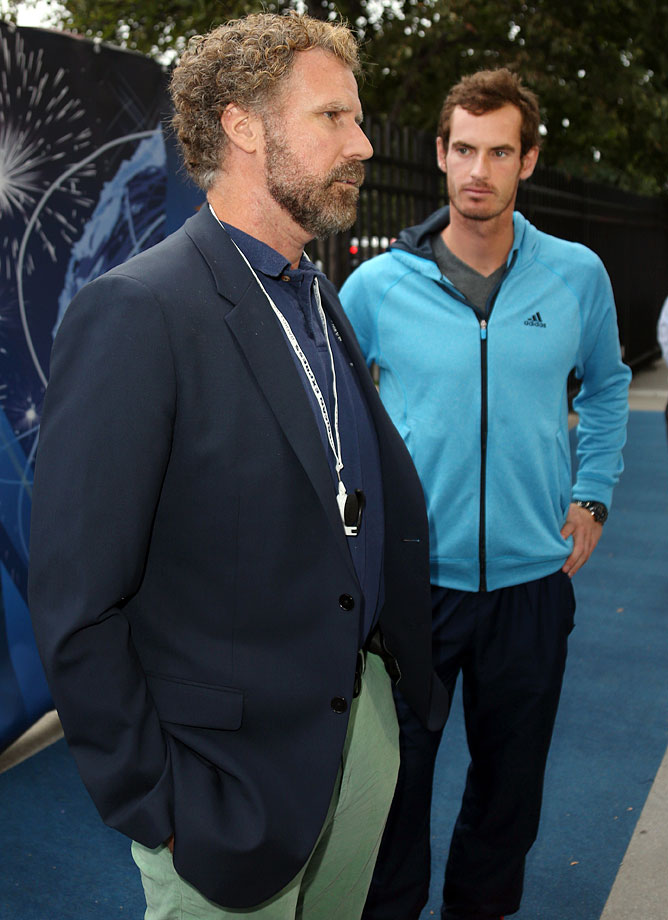 Will Ferrell meets Andy Murray of Great Britain on Day 6 of the US Open on Aug. 30, 2014 at the USTA Billie Jean King National Tennis Center in Flushing, N.Y.