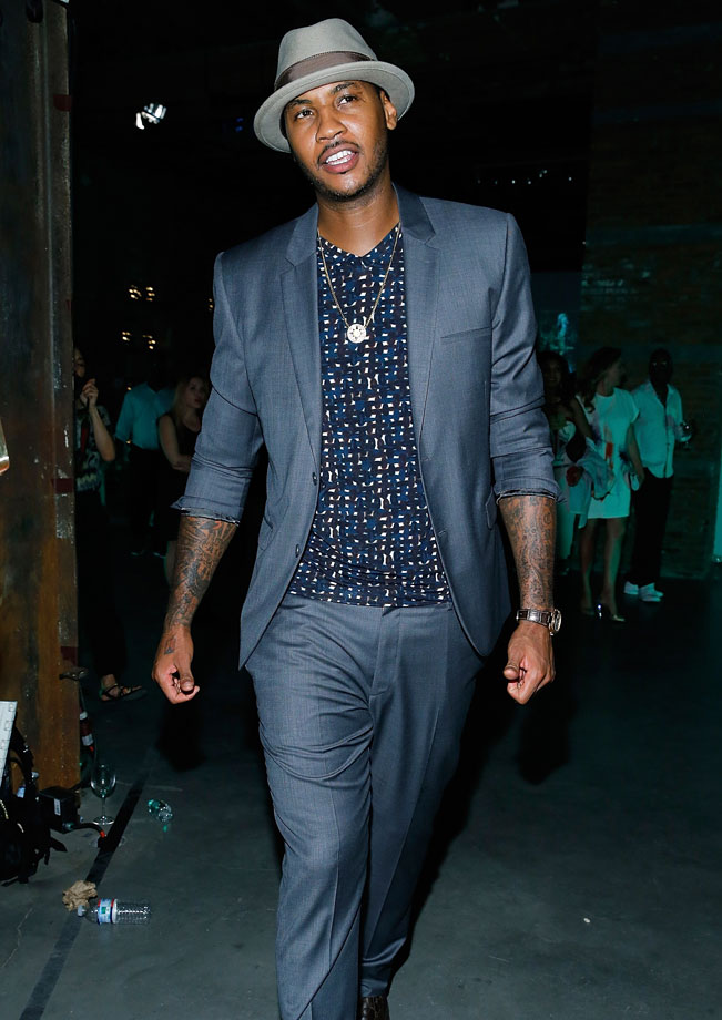 Carmelo Anthony attends the Dom Perignon Metamorphosis By Iris van Herpen Launch Party at Pioneer Works in New York City.