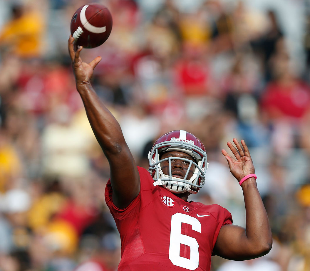 Alabama woke up from a slow start behind a breakout effort from quarterback Blake Sims, who went 12-of-17 passing for 168 yards with two touchdowns.