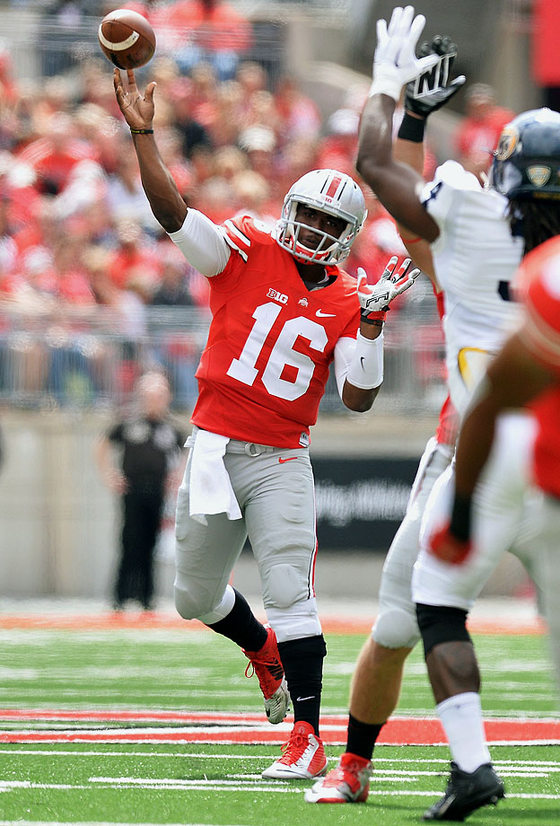 Ohio State took out its frustration from the loss to the Hokies on a hapless Kent State squad, as Barrett tied a school record with six touchdown passes -- five in the first half.
