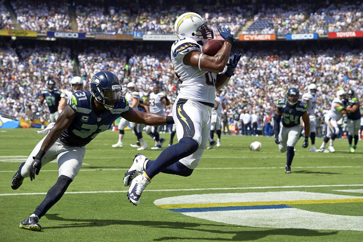 The Seattle secondary could not slow down Antonio Gates in Week 2, as the Chargers' tight end caught seven passes for 96 yards in three touchdowns, leading San Diego to a 30-21 victory over the Seahawks.