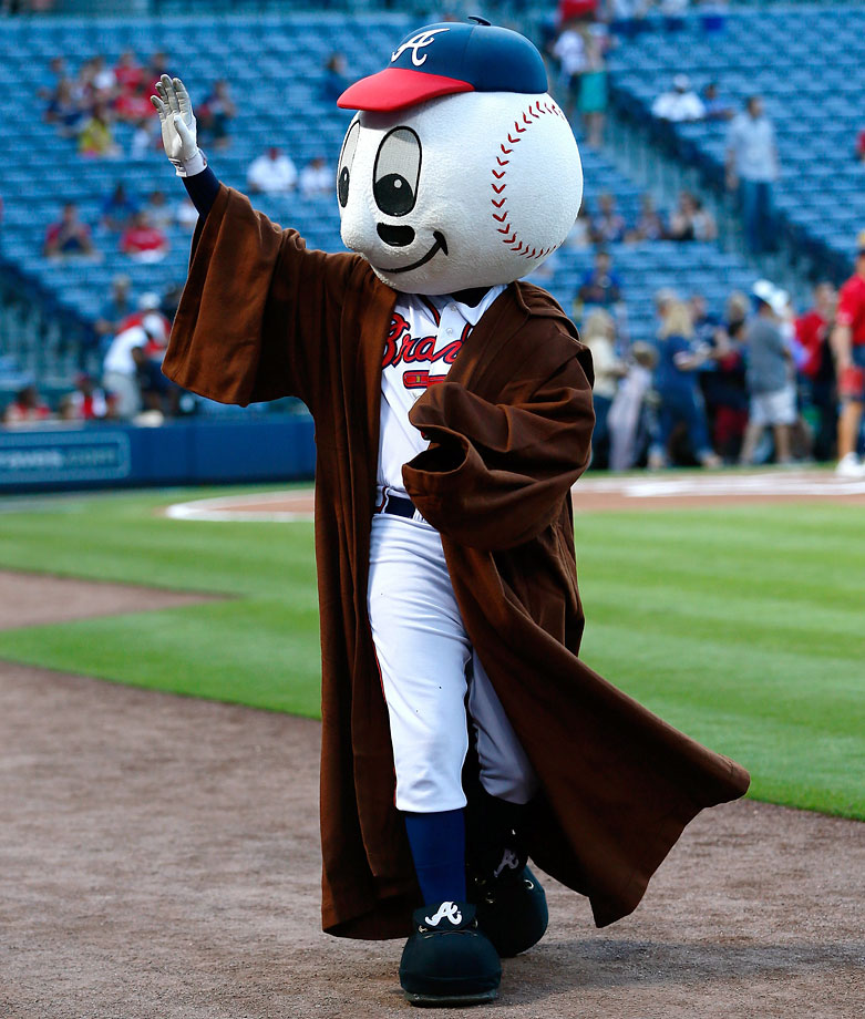 "Atlanta Braves mascot Homer walks around the field during ""Star Wars Night"" prior to the Braves game against the New York Mets on Sept. 19, 2014 at Turner Field in Atlanta."