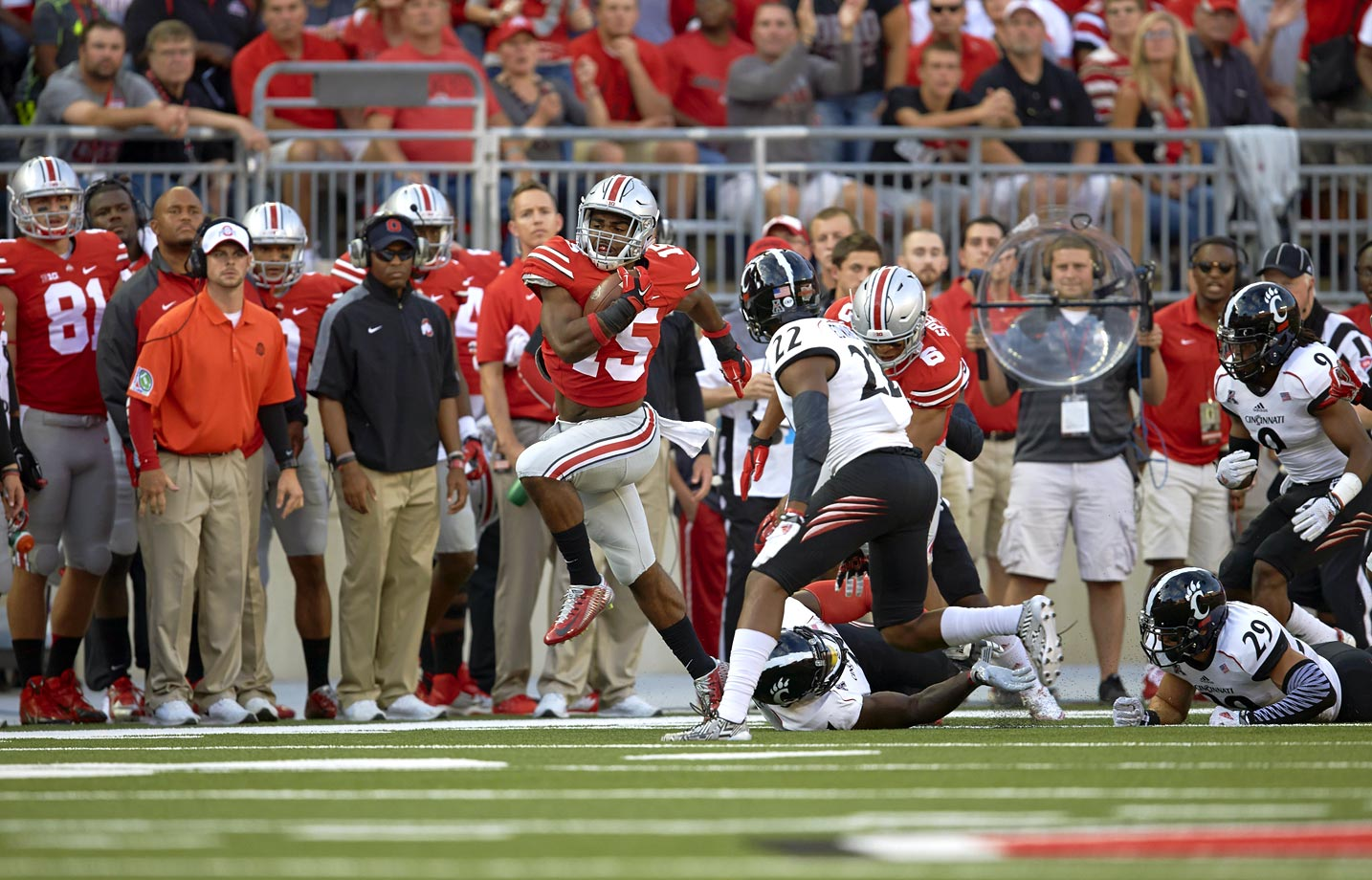 Cincinnati quarterback Gunner Kiel kept the Bearcats in it with 352 yards passing and four touchdowns, but the Buckeyes exploded for 710 yards of offense behind Barrett and running back Ezekiel Elliott.