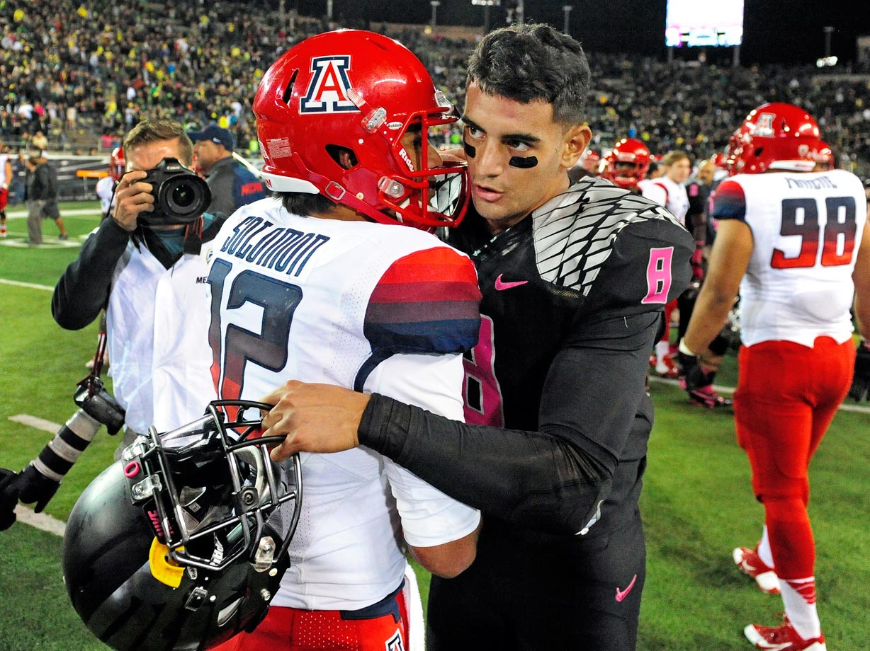 Oregon's only loss off the season came at the hands of Arizona, which upset the Ducks for the second straight season. Mariota caught a 26-yard touchdown pass on a halfback pass, but Oregon was unable to overcome the 24-14 lead Arizona brought into the fourth quarter.