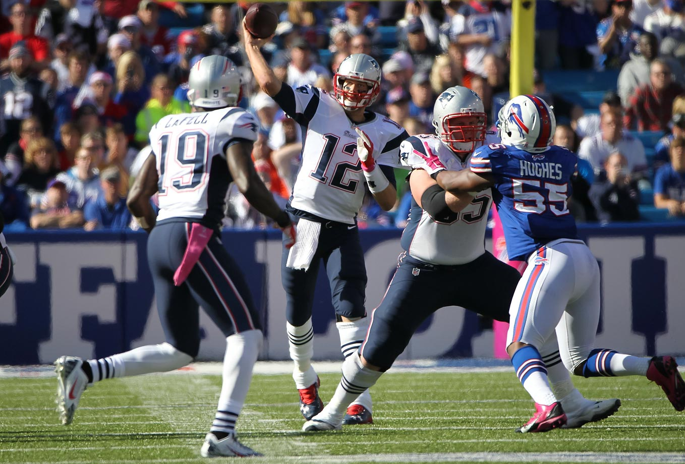 The passing game remained fruitful in New England's next game, a 37-22 win over Buffalo. Brady threw for 361 yards and four touchdowns – two of which went to Brandon LaFell -- to improve to 23-2 against the Bills in his career.