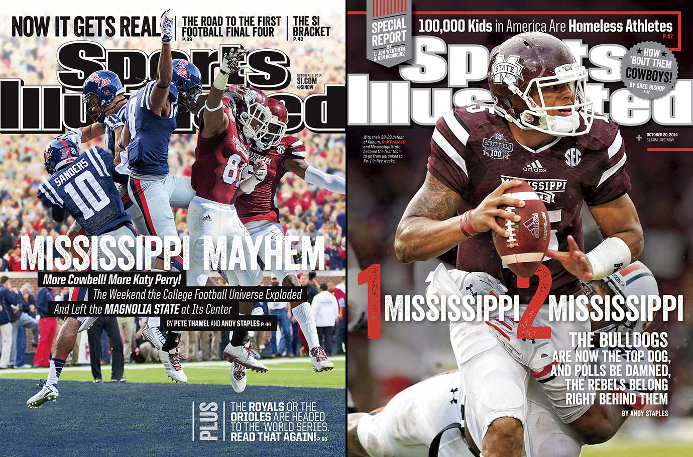 Ole Miss started 7-0, but fell to 9-4, capped off by a 42-3 defeat to TCU in the Peach Bowl. Meanwhile, after starting off 9-0 and being the No. 1 team for five weeks, Mississippi State dropped to 10-3 losing three of their last four, including two straight losses to arch-rival Ole Miss, 31-17, and Georgia Tech in the Orange Bowl, 49-34.