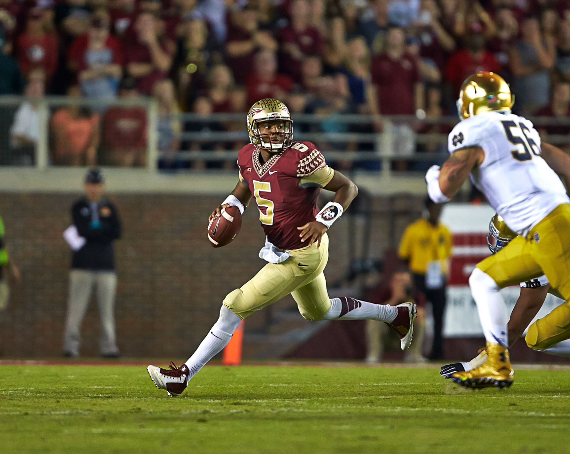 The Seminoles' undefeated streak seemed to be over, but an offensive pass interference penalty negated the Fighting Irish's game-winning touchdown pass. After trailing 17-10 at halftime, Winston kicked into high gear in the second half, completing 15-of-16 passes for 181 yards with a touchdown.
