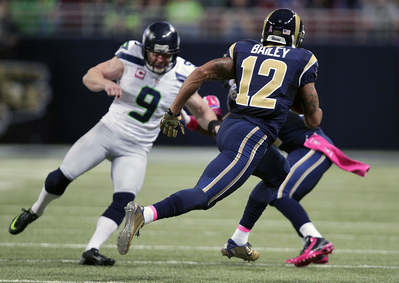 Despite a big game from Wilson, the Seahawks lost their second game in a row to division rival St. Louis in Week 7. The Rams scored on a 75-yard kickoff return, as well as a 90-yard trick punt return en route to victory. Austin Davis completed 85 percent of his passes and threw two touchdowns to overcome Wilson's 419 yards and three scores combined in the air and on the ground.